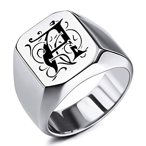 MeMeDIY Custom Engraved Initial Monogram Signet Ring for Men Women Boys Mens Rings Stainless Steel, Bundle with Ring Size Adjusters(Silver Color, Size R)