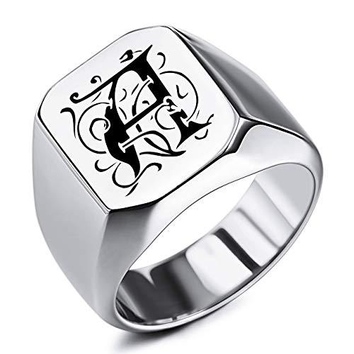 MeMeDIY Benutzerdefinierte Gravur Initialen Monogramm Siegelring für Männer Frauen Jungen Herren Ringe Edelstahl, Bundle mit Ringgrößeneinstellern (Silberfarbe, Größe 65 (20.7))