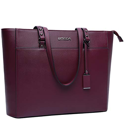 UMODA Laptop Bag for Women,Multi Pocket Work Bag,15.6 Laptop Bag for Business,Dark Purple