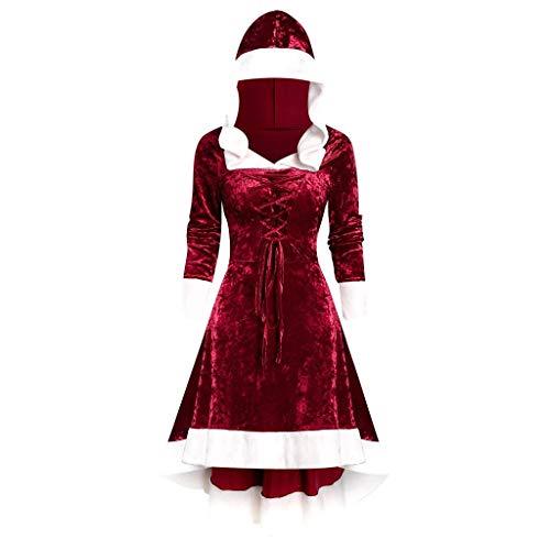 Weihnachts Kostüm Womens Mrs Santa Claus Kostüm Piebo Damen Kapuze Kleid COS Performance Kleidung Vintage Cocktail Party Cosplay Dress Ladies Langarm Kleider Weihnachtskleider Abendkleid