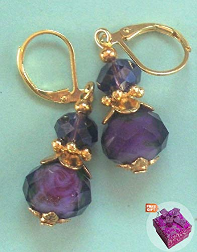 Dark Purple Lampwork Crystal Earring Gp Leverback Handcrafted Rhinestone Earrings For Women Set + Gift Box For Free