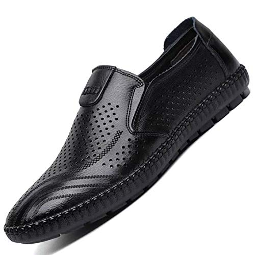 MAIZUN Driving Shoes for Men Breathable Casual Leather Slip On Loafers Summer Lightweight Walking Shoes Moccasins Black