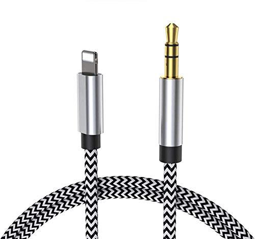 Auto AUX Kabel für iPhone, Audiokabel Aux Kabel auf 3.5mm Premium Audio für iPhone 11/11 Pro/11 Pro Max, 7/7 Plus, 8/8 Plus/X/XS/XS Max/XR, iPad, Auto-Stereoanlagen, Lautsprecher, Kopfhörer