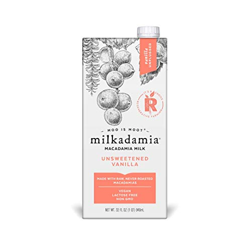 Milkadamia Unsweetened Vanilla, Vegan and Keto-Friendly Macadamia Milk...