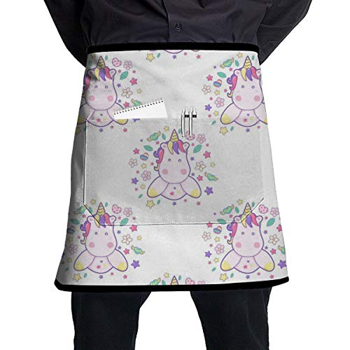 Cavdwa pinke Schürze mit süßem Einhorn, halblange Schürze mit Tasche zum Kochen und Backen, handgefertigt, Gartenarbeit, Grill, 54 x 45 cm