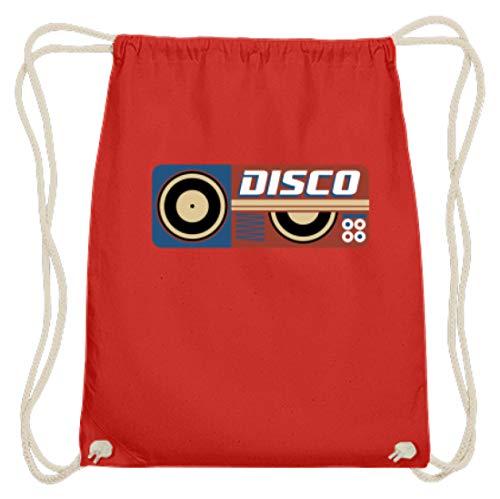 Hoogwaardige katoenen gymzak - Disco DJ Retro Vintage plaat vinyl party - eenvoudig en grappig design