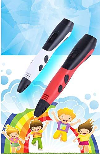 Ledyoung 3D Stift, 3D Druck Stift mit LCD Bildschirm für Kinder, Packung mit 1 Stift und 1.75mm PLA Filament von 16 Verschiedenen Farben (Für EU, Schwarz + Weiss) (for EU, White) - 2