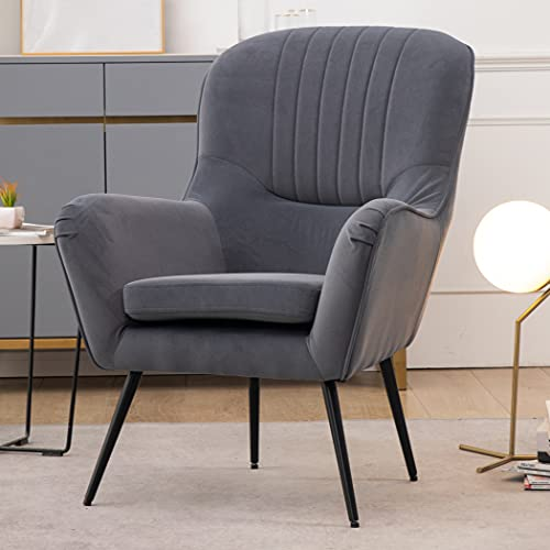 JaHECOME Living Room Armchair Grey Single Sofa Tub Chair Upholstered Seat Sofa with Metal leg with foot pads for Living Room Bedroom Office (grey)