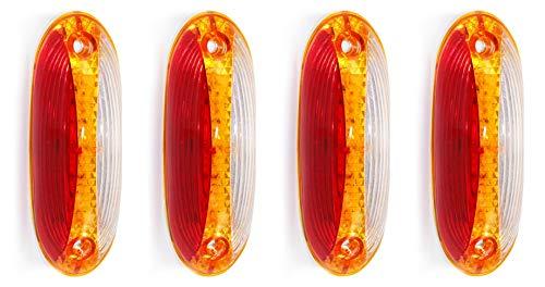 Lot de 4 feux de gabarit latéraux à LED 24 V Rouge/orange/blanc 18 LED SMD pour remorque, camion, camping-car, caravane