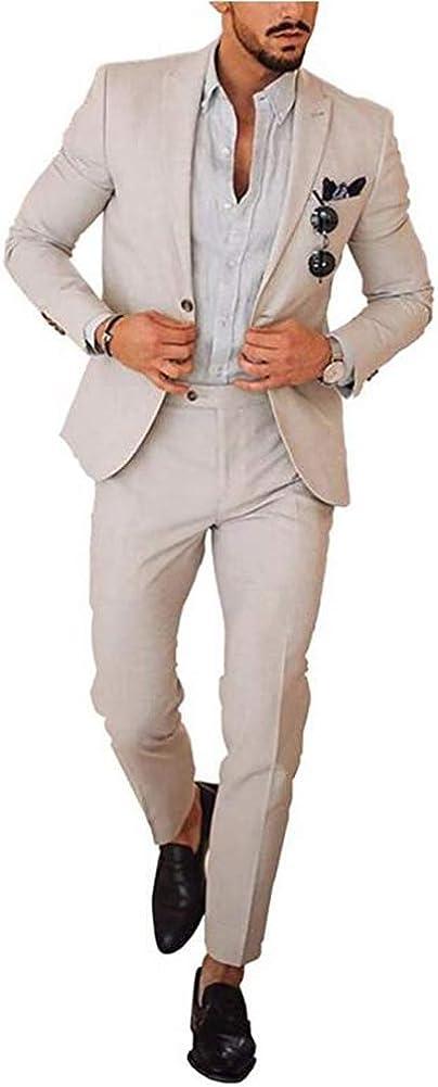 Men's Peak Lapel Wedding Suit Slim Fit 2 Pieces Business Suit