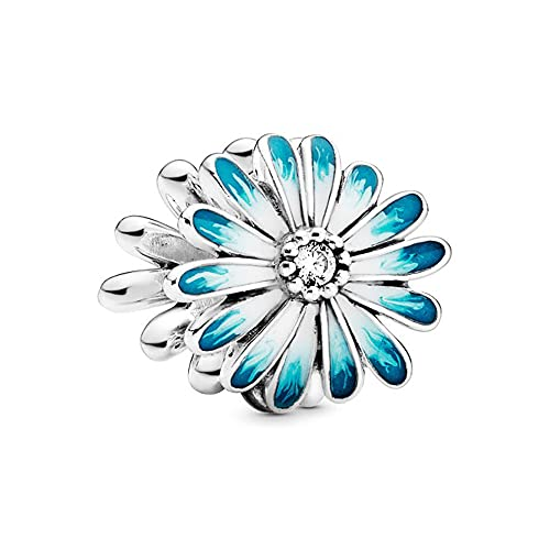 Annmors Blue Daisy Charms 925 Sterling Silver Flower Bead with Enamel para Pulseras