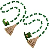 2 Pieces St. Patrick's Day Wood Beads Tassels, Wood Beaded Garland with Tassels, Elf Hat and Elf Shoe Tag, Green Wooden Beads Garland Rustic Farmhouse Ornaments for Wall Hanging Home Decoration