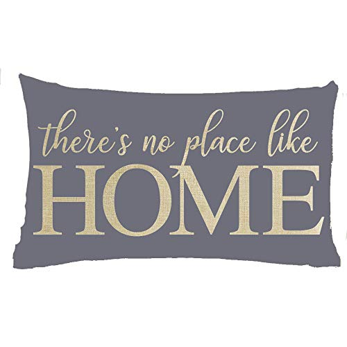 Jimrou Throw Pillow Cover 12x20inches Festival There's No Place Like Home Blue Gray Background Quote to Family Cotton Linen Decorative Home Sofa Chair Car Lumbar Throw Pillow Case Cushion Cover