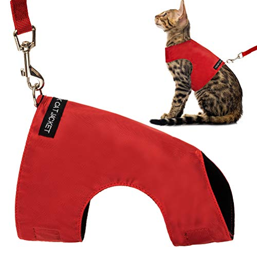 Escape Proof Cat Harness with Leash Set - Adjustable Fleece Walking Jacket - Soft and Light Weight for Kittens, Puppies - Red Large