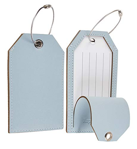 Toughergun Leather Instrument Baggage Bag Luggage Tags with Privacy Cover 2 pcs Set (Blue Light)