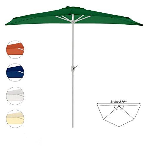 Nexos Sonnenschirm Grün halbrund Ø 2,70 x 1,40m Wandschirm Balkon-Schirm mit Kurbel Polyester 160 g/m² Sonnenschutz