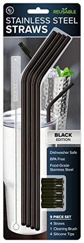 4th Utensil Reusable Black Bent Stainless Steel Straws with 4 Removable Silicone Tips and 1 Cleaning Brush, Dishwasher Safe, 9.5 Inches Long, Set of 4