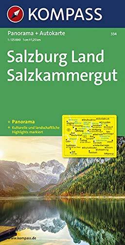 Kompass Panorama-Karten, Salzburg, Salzkammergut: Autokarte mit Panorama