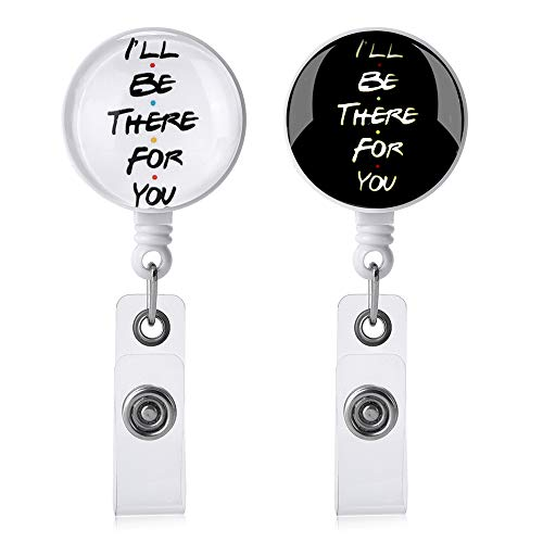 I'll Be There for You Badge Holder Reels Retractable,2 Pcs Cute Friends Nurse Badge Reels with Alligator Clip, Name/ID Card Holders for Office Worker Doctor Nurse