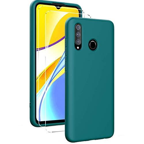 Oududianzi - Funda para Huawei P30 Lite con 2 Pack Protector de Pantalla de Vidrio Templado, Funda de Silicona Líquida Suave Case de Goma Ultrafina a Prueba de Choques de Color Puro- Verde Noche