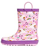 OUTEE Toddler Girls Little Kids Rain Boots Baby Waterproof Mud Insulated Shoes Lightweight Outdoor Puddle Rubber Boots Adorable Printed with Easy-On Handles Non Slip pink unicorn size 6
