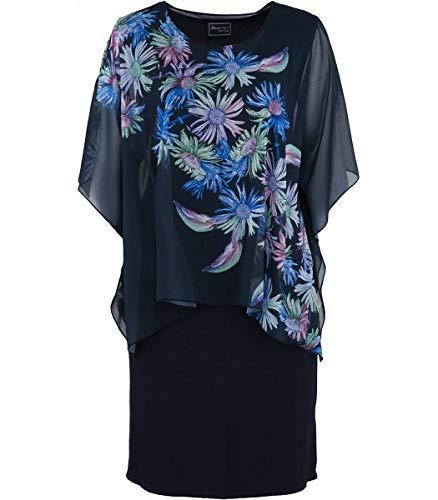 Sempre piu Damen Kleid Blau mit Chiffon-Stola Knielang große Größen Überwurf, Größe:58