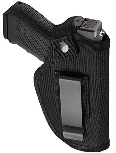 Xikui Universal Gun Holster for Concealed Carry, Inside Outside Waistband for Right Left Hand, Adjustable Holster Fits S&W, M&P Shield/Glock 23,36,39,42,43/Ruger LC 9, Similar Handguns, Black