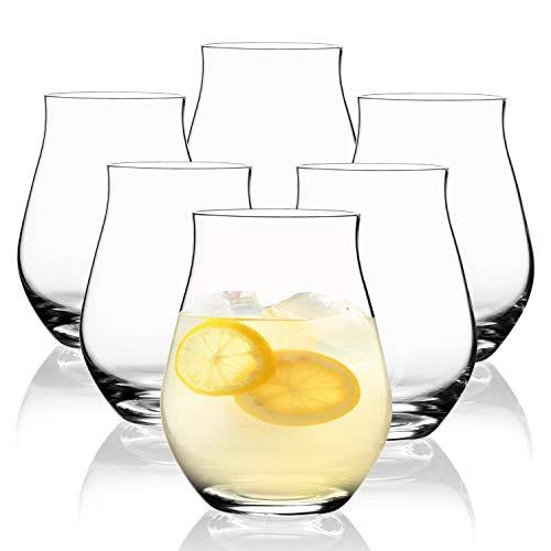 SAHM Sensorik Wassergläser Set 6 teilig 420ml | Gläser Set Wasserglässer | Tolle Gin Gläser, Weingläser ohne Stiel, Biergläser & Whisky Gläser