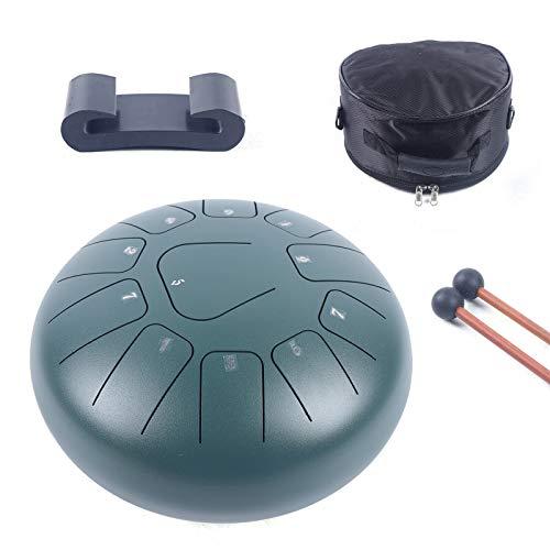 Tambor de acero de 10 pulgadas, instrumento de percusión, con baquetas, bolsa de transporte, para meditación, yoga, curación de sonido, meditación, curación de sonido