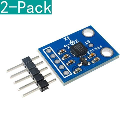 YOUMILE 2-Pack GY-61 ADXL335 3-Achsen-Beschleunigungssensor-Modul mit Analogausgang, Winkelgeber 3V-5V für Arduino