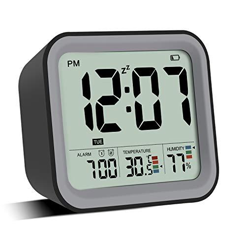 ATOBEI 目覚まし時計 大音量 連続チャイム 電池式 2つ アラーム ダブルアラーム LED多機能温度湿度時計 寝室、書斎、ベッドの横、若い人、大人に適用します (ブラック)