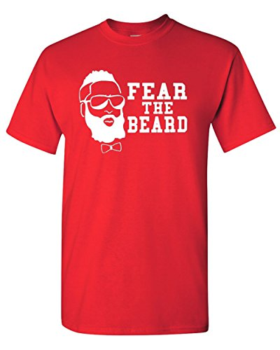 Fear the Beard Harden Basketball Houston Red T-Shirt Tee (Medium)
