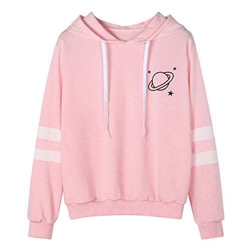 Price comparison product image Zainafacai Hoodies Women's Comfy Printed Hooded Sweatshirt Fashion Couples Pullover Hoodie (Pink,  L)