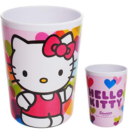 alles-meine.de GmbH Trinkbecher / Zahnputzbecher / Malbecher - Hello Kitty - Katze - 200 ml - Becher - BPA frei - Melamin / Kunststoff Plastik - Trinkglas - Mädchen für Kinder Ki..