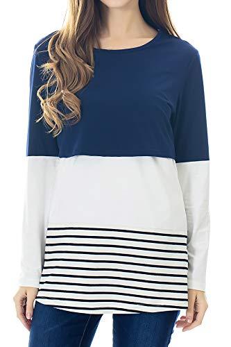 Smallshow Womens Long Sleeve Back Lace Maternity Nursing Tops,Blue,X-Large