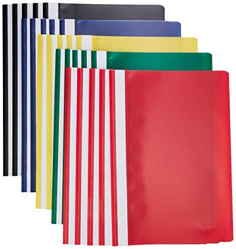 AmazonBasics – Schnellhefter, A4, verschiedene Farben (Schwarz, Blau, Rot, Grün, Gelb), 25Stück