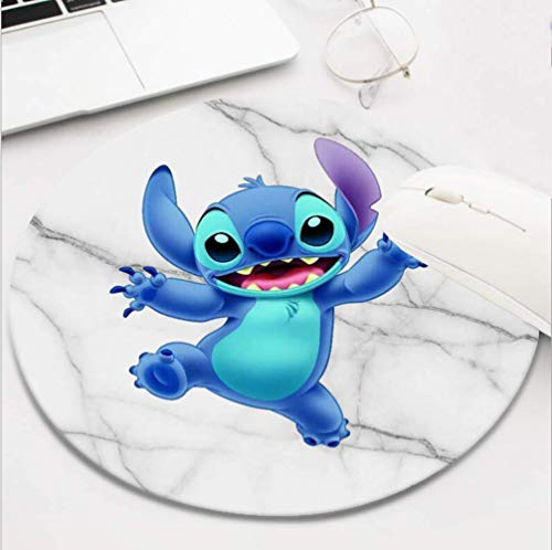 Round Gaming White Marble Lilo Stitch Mouse Pad, Non-Slip Rubber Mousepad for Desktop Laptop Computer Keyboard,Funny Cute Office and Home Gift (8 Inch)