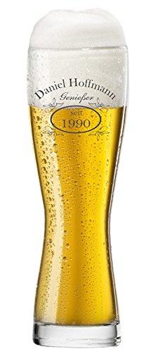 EIN Bierglas, Weizenbierglas 0,5l, Glas mit Bier Design inkl. Wunschgravur Gravur Wunschtext