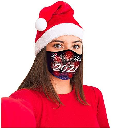 Zumint 1 Stück LED Weihnachts Maske für Erwachsene, Mädchen Jungen Mundschutz Gesichtsschutz Schals 3D Cartoon Druck Bandana, Baumwolle Atmungsaktiv Mund-Nasen Bedeckung Halstuch