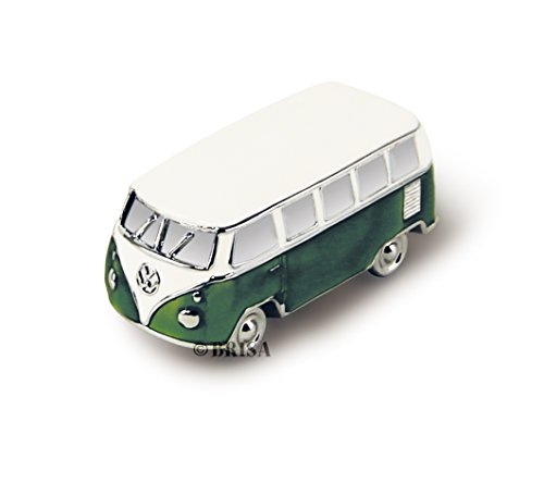 Brisa VW Collection - Volkswagen Furgoneta Hippie Bus T1 Van Mini Modelo en Caja de Regalo, Pisapapeles, Iman para Tablón de anuncios, Decoración Magnética para Nevera como Regalo/Souvenir (Verde)