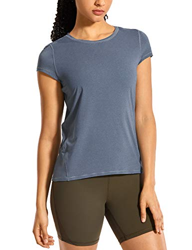 CRZ YOGA Kurzärmliges T-Shirt für Damen Sport Fitness T-Shirt Kurzarm Laufshirt Hellblau Melange 40