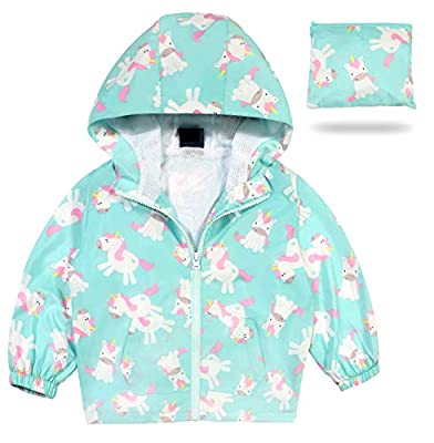 MORCOE Toddler Girls' Outdoor Travel Jackets Lightweight Quick-Dry Packable Zipper Hooded Casual Outerwear Kids Coat(Blue,3-4Y)