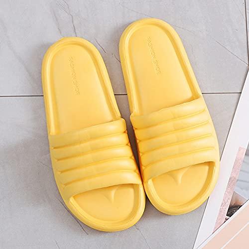 QUNHU Zapatillas Antideslizante Gruesa Suela de Secado rápido Plataforma de Almohada Zapatos de Almohada, súper Suaves toboganes para Mujer (Color : Yellow, Size : 40-41EU)