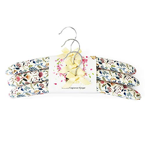 Qingbei Rina Fragrance Canvas Padded Hangers for High-End Delicate Clothes (3 Pack) Jasmine Scent