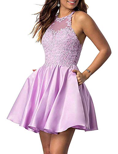 Woman's Short Homecoming Dresses for Juniors Lace Halter Neckline with Pockets (Lavender-16)