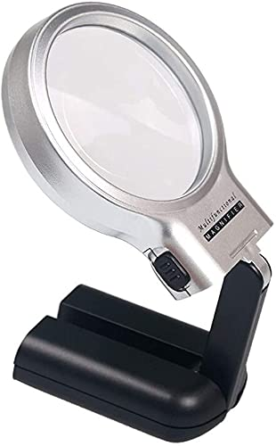 LLCY Lupa para Coser Lupa portátil de Mano Leyendo reconocimiento multifunción de Escritorio LED óptico Iluminado Lupa