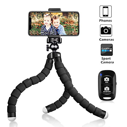 UBeesize Tripod S Premium Phone Tripod Flexible Tripod with Wireless Remote Shutter Compatible with iPhone/Android Samsung Mini Tripod Stand Holder for Camera GoPro/Mobile Cell Phone Upgraded