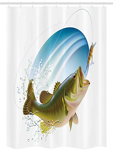 Ambesonne Fishing Stall Shower Curtain, Largemouth Sea Bass Catching a Bite in Water Spray Motion Splashing Wild Image, Fabric Bathroom Decor Set with Hooks, 54