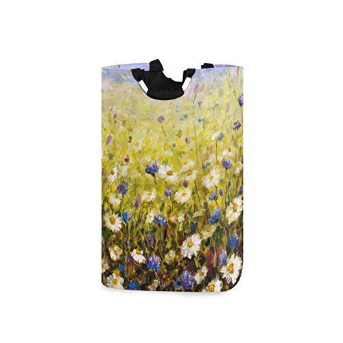 Chic Houses Cesta de lavandería con diseño de margaritas y flores, pintura al óleo, ropa sucia, papelera de lavandería para dormitorio o baño 2030242