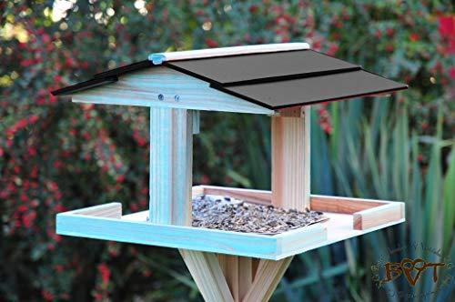 Deko-Shop-Hannusch Grande mangeoire à oiseaux avec support toit noir foncé résistant aux intempéries Bleu antique